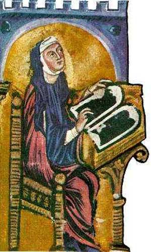 Miniatyr fra Lucca-Codexen av Liber divinorum operum: Hildegard ved skrivepulten (ca 1220/1230), Biblioteca Statale i Lucca