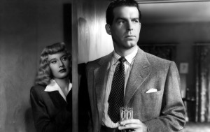 Femme fatale Phyllis Deitrichson (Barbara Stanwyck) and slick insurance salesman Walter Neff (Fred MacMurray) in 1944's Double Indemnity.