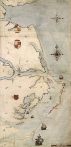 Virginea Pars map by John White, showing Roanoke Island in pink behind the Outer Banks