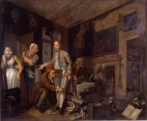 """The Heir"" the first of eight paintings of William Hogarth's ""A Rake's Progress"" (1733) that tells the story of Tom Rakewell, a young man who follows a path of vice and self-destruction after inheriting a fortune from his miserly father."