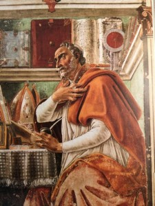 "This is the ""Saint Augustine"" Sandro painted in the Vespucci family church in 1480. He is finishing it as the story opens; and a ""clue"" he paints into it leads to the resolution of the story. (The hidden note was discovered by restorers relatively recently.)  The painting (fresco) remains in the church today: Ognissanti, or The Church of All Saints."