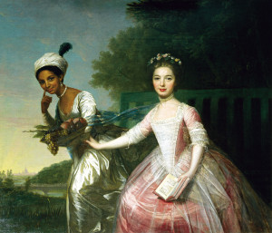Dido Elizabeth Belle and Lady Elizabeth Murray on the grounds at Kenwood House, near London, circa 1779